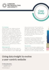 2019 – Using data insight to evolve a user centric website – London Metropolitan University